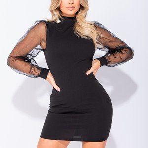 NWT Sheer Long Puff Sleeve Bodycon Mini Dress
